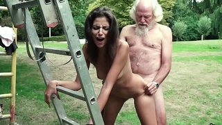 Old man plays a sex game fro young girl they have super hot sex