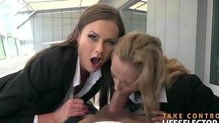 Fucking blonde and brunette FBI agents POV