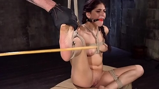 Petite slave pussy whipped in bdsm