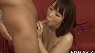 Fetching japanese chick gives vehement cock sucking