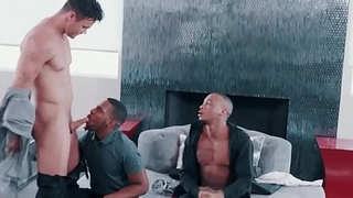 White hunk fucking his black gay best men in threesome