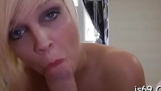 Shy slut gives amazing blowjob and then takes it up the cookie