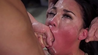 Babe in stockings throat increased by ass fucked