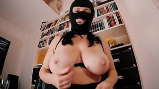 Big breasted Mom-Slut in a Spandex Fetish Mask Masturbates with a suction-cup Dildo. Huge boobs, high heels and a cum load swallowed. Homemade amateur sex tape.